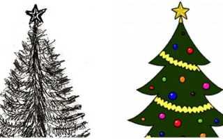 Как поэтапно нарисовать елку с игрушками и новогодними гирляндами легко и красиво: мастер-классы для детей. Как нарисовать ёлку карандашом поэтапно